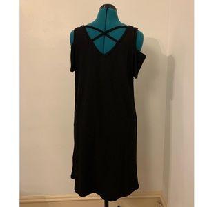 Little black cold shoulder dress by August silk